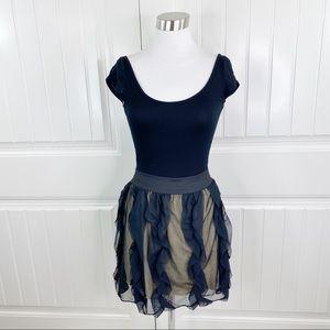 Eight Sixty Cap Sleeve Mesh Ruffle Mini Dress S